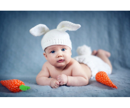 Child's Love - Smiling Baby With Rabbit Hat