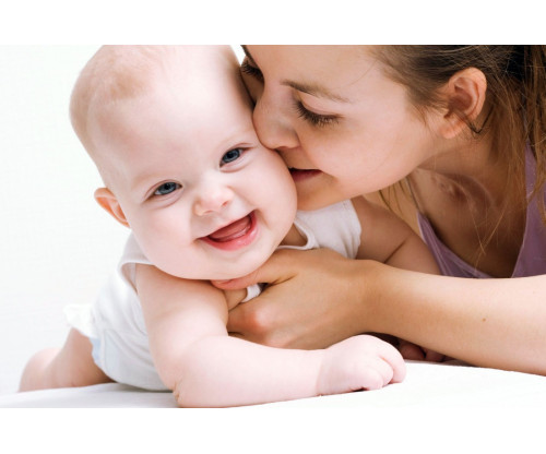 Child's Love - Mother Kissing Her Baby
