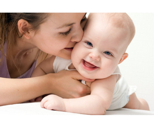 Child's Love - Mummy Kissing Her Baby