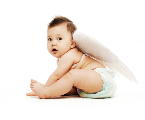 Child's Love - Cute Baby With White Wings