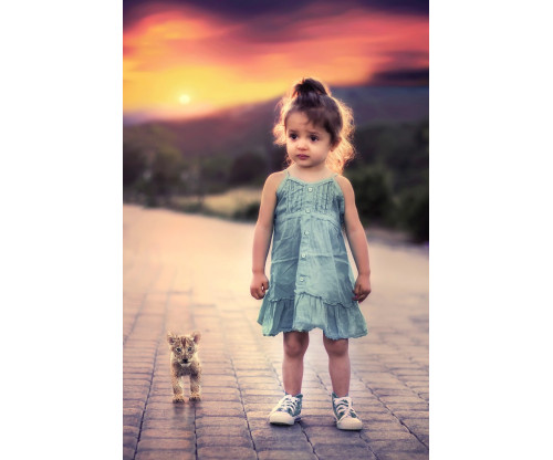 Child's Love - Cute Girl With Cub