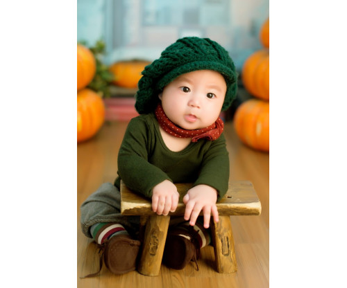 Child's Love - Cute Baby In A Green Outfit