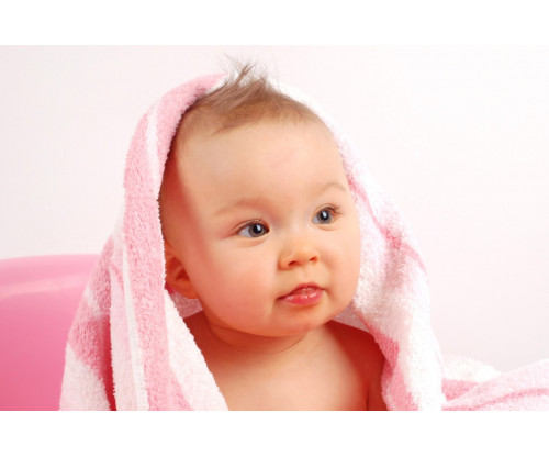 Child's Love - Cute Baby In A Pink Towel