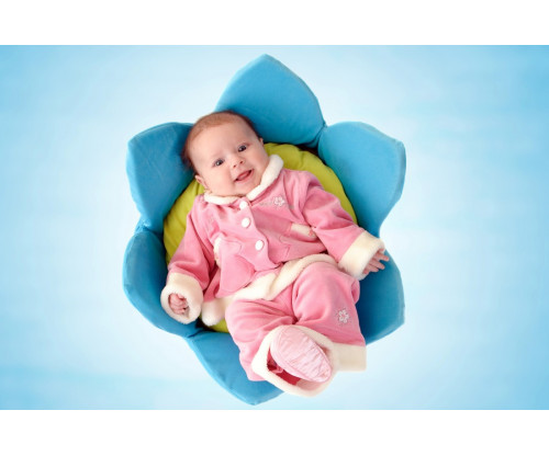 Child's Love - Smiling Baby In Blue Cotton Flower
