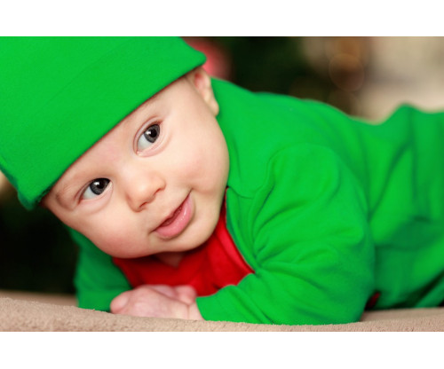 Child's Love - Cute Little Baby In A Green Get-Up