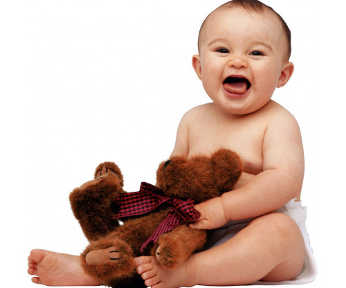Child's Love - Smiling Baby With Teddy