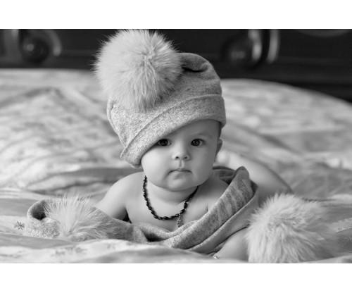 Child's Love- Baby Wearing Pom Pom Hat