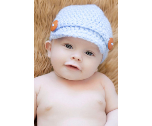 Child's Love - Smiling Baby In A Blue Hat