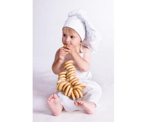 Child's Love - Chef Girl Eating Doughnut
