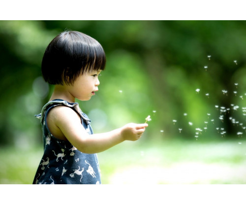 Child's Love -  Cute Girl Playing In The Garden