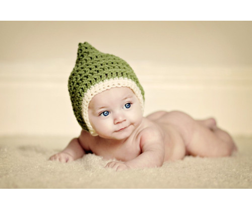 Child's Love - Cute Baby In A Green Hat