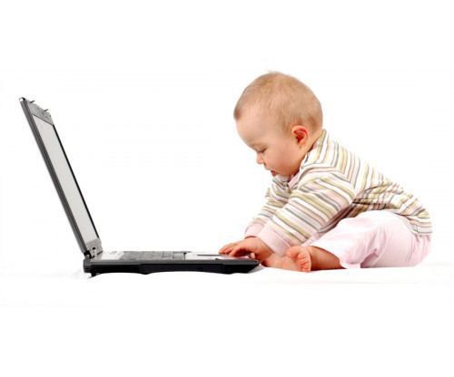 Child's Love - Baby With Laptop