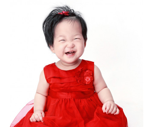 Child's Love - Happy Girl In A Red Dress