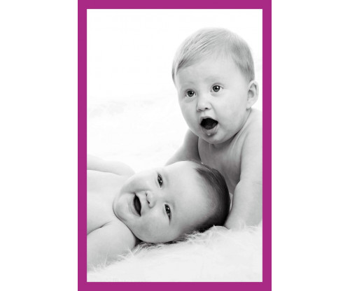 Child's Love - Two Cute Babies Violet Border