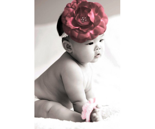 Child's Love - Cute Baby With Big Red Flower