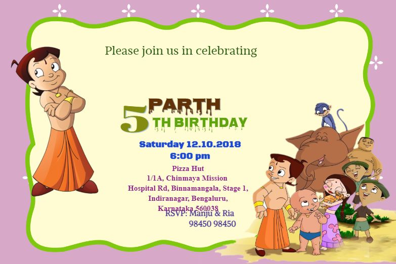 Invitation Card With Chhota Bheem