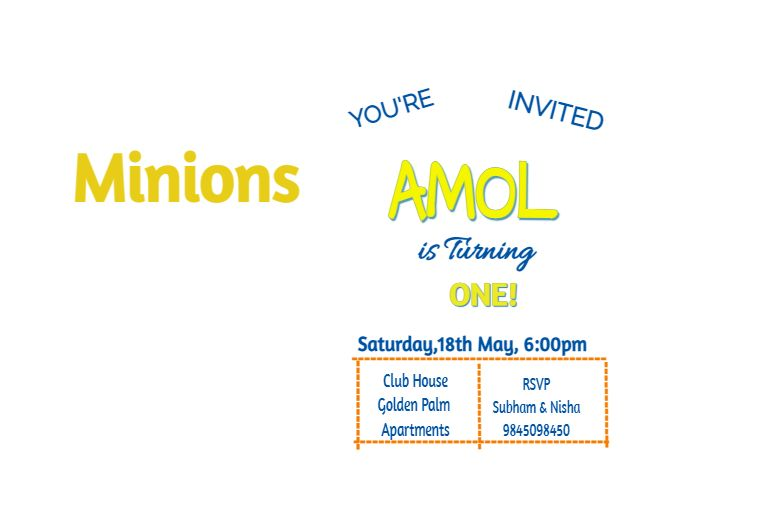 Family of minions invitation card