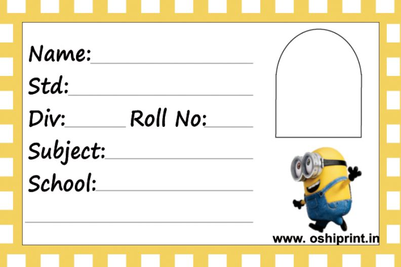 Happy Minion School Notebook Label