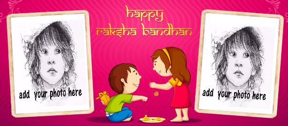 Raksha Bandhan wish with 2 Photos on a Coffee Mug in Pink