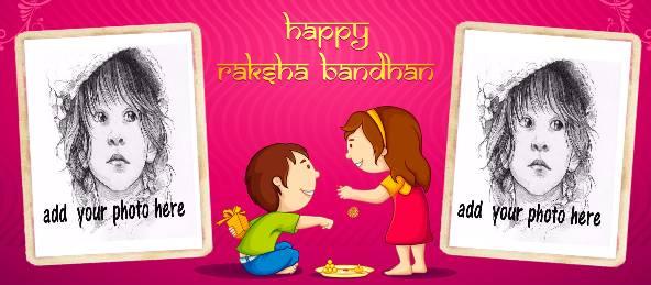 Raksha Bandhan wish with 2 Photos on a Coffee Mug in Pink