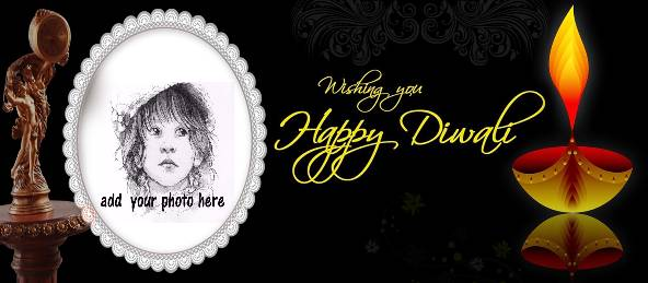 Happy Diwali- Golden Diya Black Coffee Mug