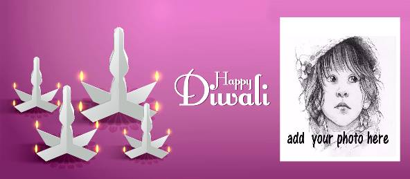 Happy Diwali - White Diya Violet Coffee Mug