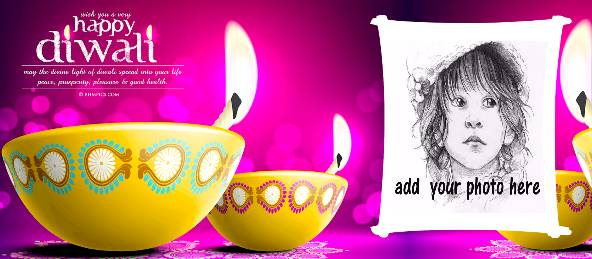 Happy Diwali - Yellow Diya Violet Coffee Mug