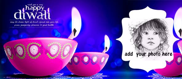 Happy Diwali - Pink Diya Navy Blue Coffee Mug
